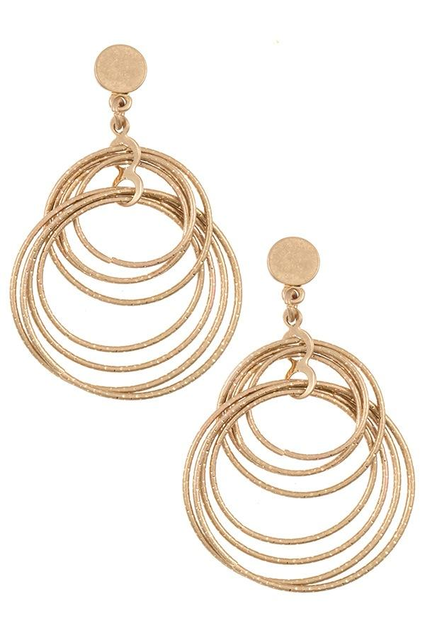 Multi ring dangle earring - StyleLure