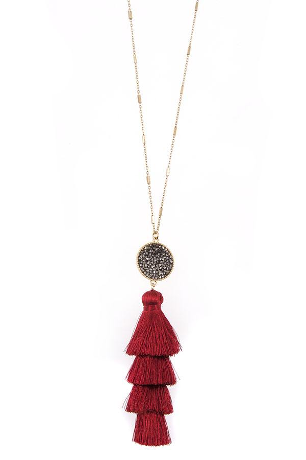 Tassel and bead accent long necklace set - StyleLure