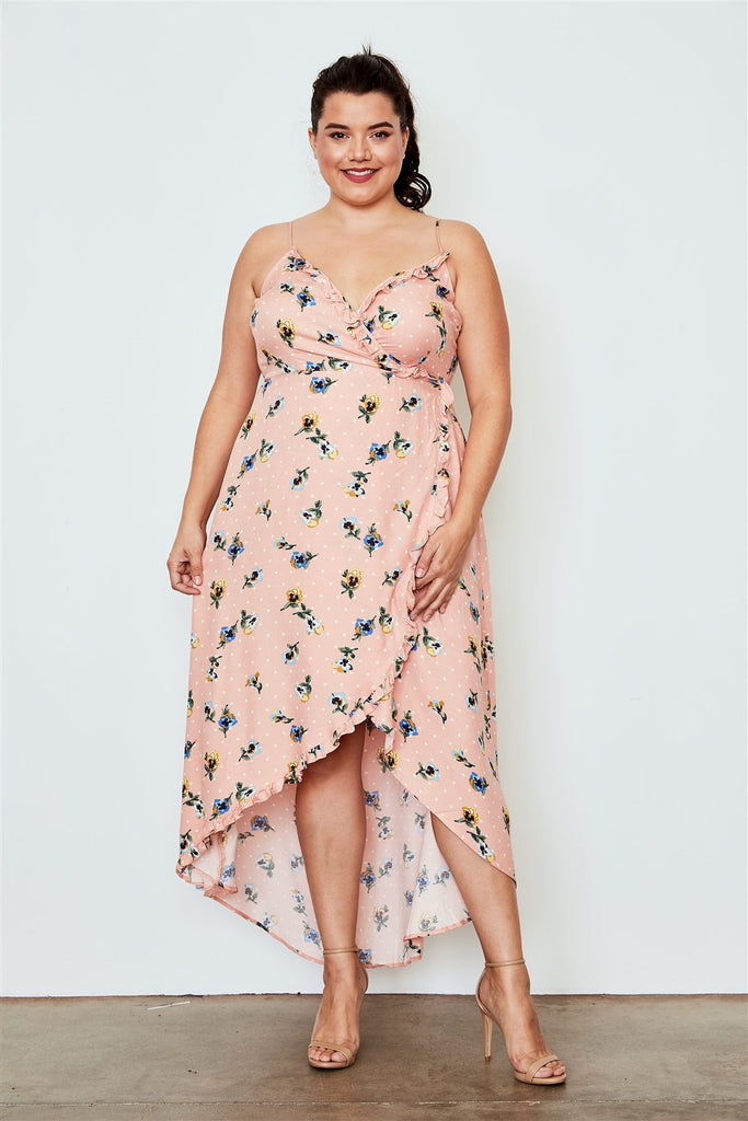 Plus Size Peach Flower Print Hi-low Wrap Midi Dress - StyleLure