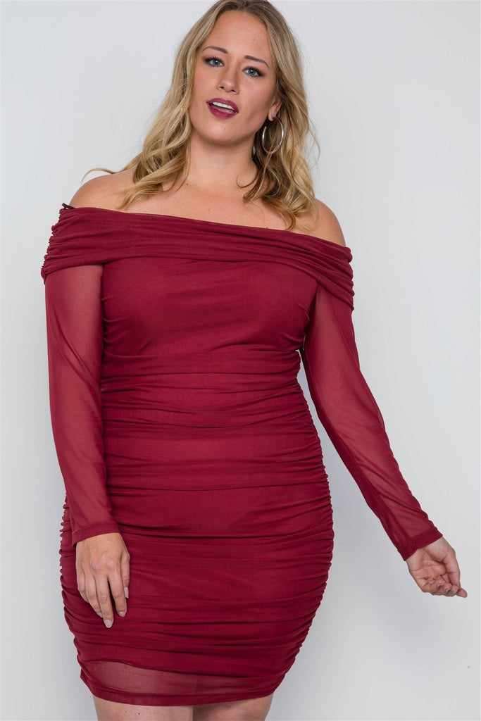 Plus Size Burgundy Off-the-shoulder Mash Mini Dress - StyleLure