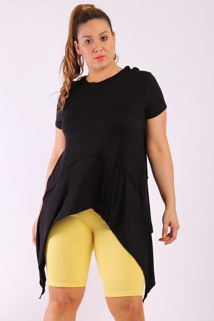Solid Knit, Tunic Top In An Oversized Fit With A Round Neckline,short Sleeves, And Asymmetrical Hem - StyleLure