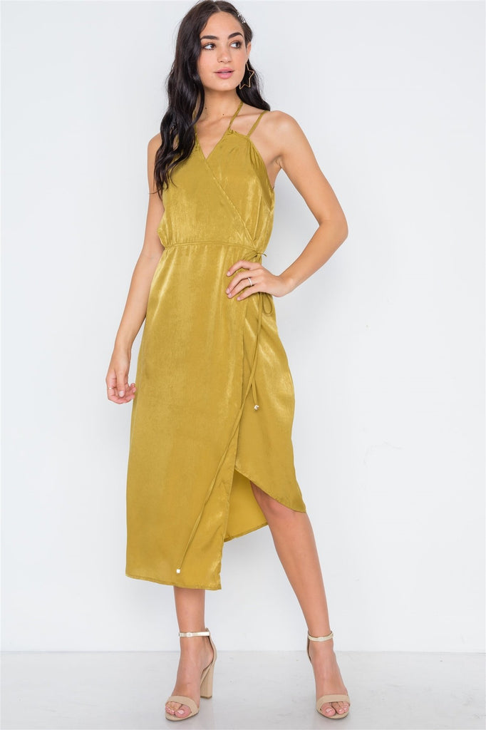 Mustard Asymmetrical Hem Cami Wrap Dress - StyleLure