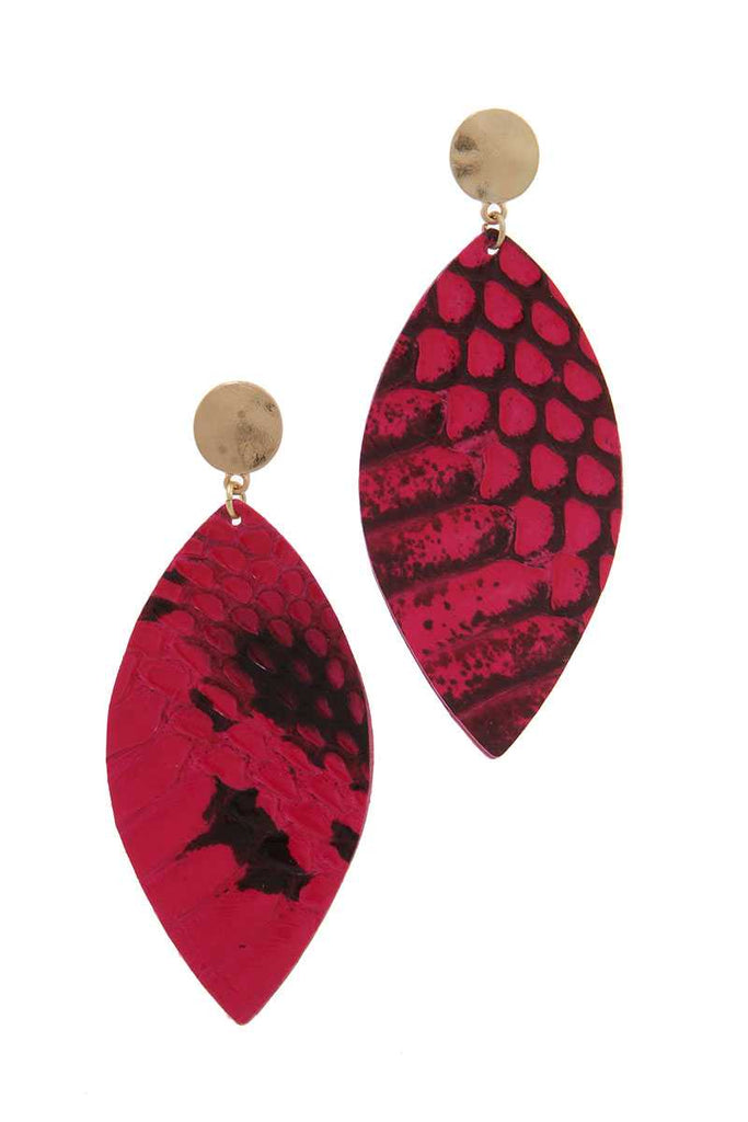 Genuine Leather Animal Print Pointed Oval Post Drop Earring - StyleLure