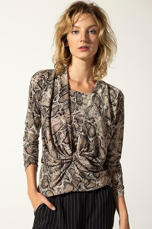 Snake Skin Twist Front Top - StyleLure