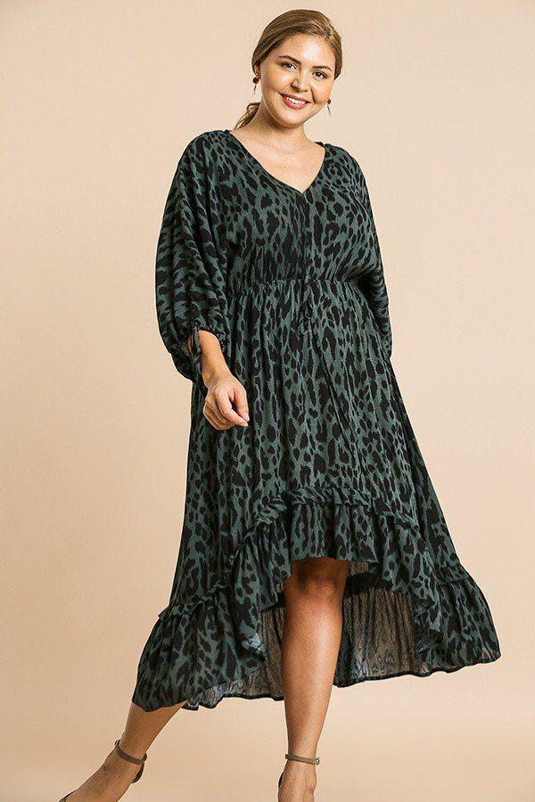 Animal Print Long Puff Sleeve Dress - StyleLure