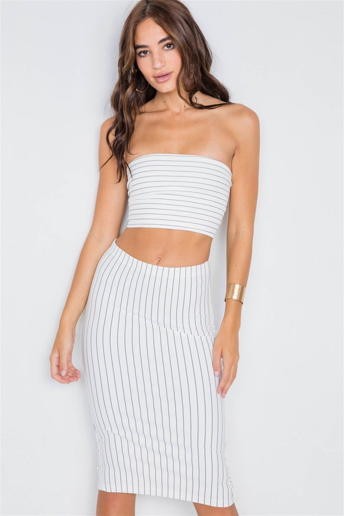 Pinstripe Lace-up Crop Top & Midi Skirt Set - StyleLure