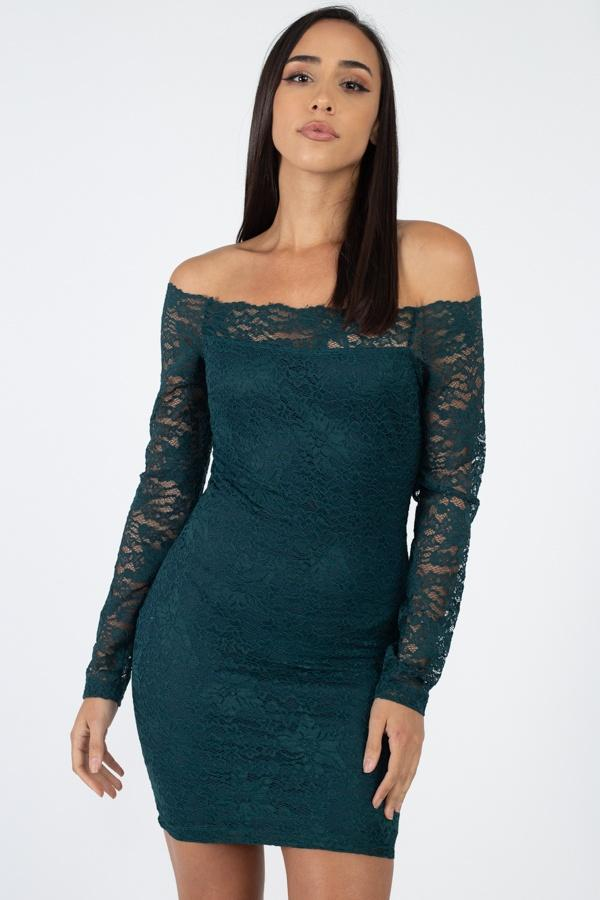 Floral Lace Off Shoulder Dress - StyleLure
