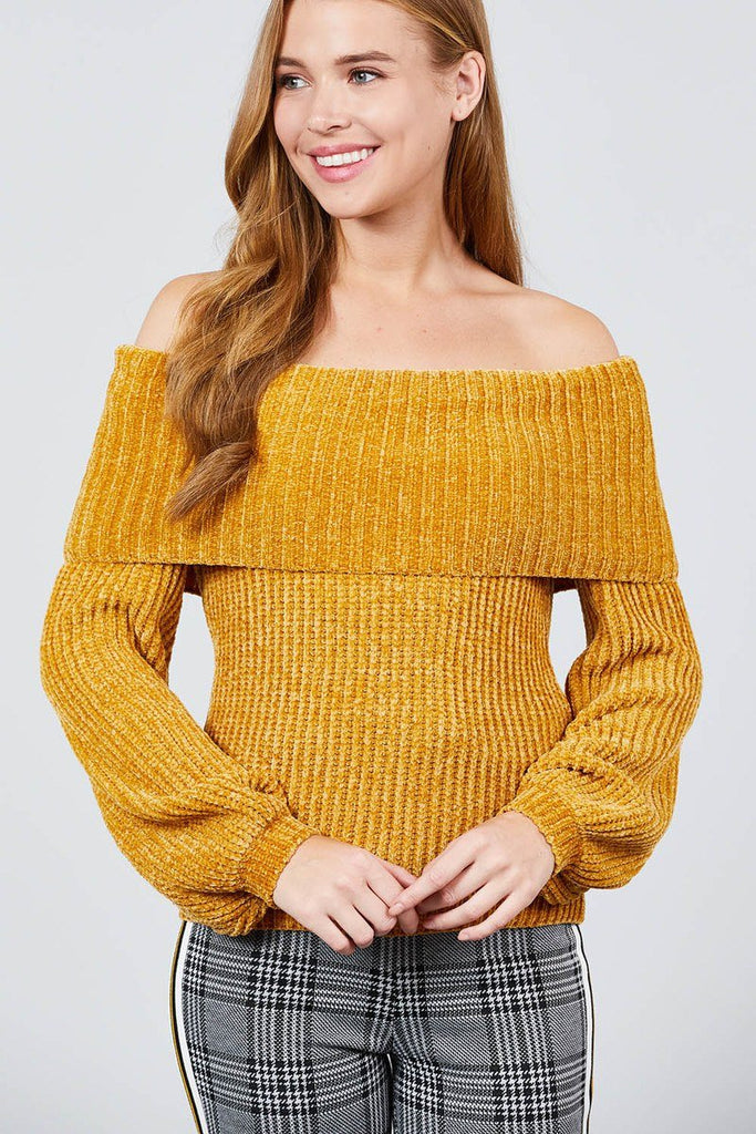 Long Sleeve Fold Over Off The Shoulder Chenille Sweater - StyleLure