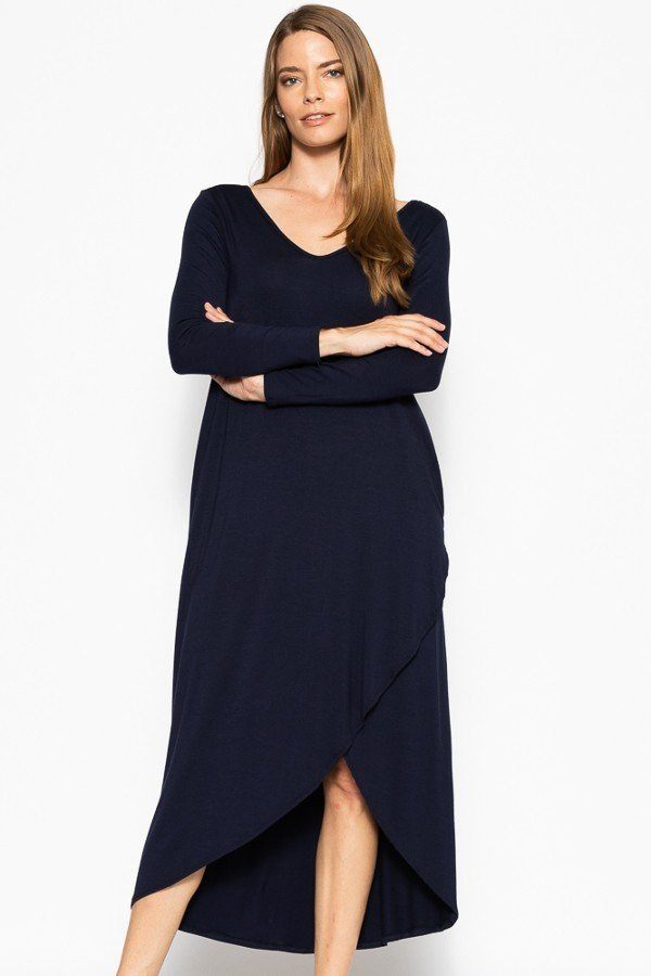 Plus Solid, Maxi Dress With Pockets - StyleLure