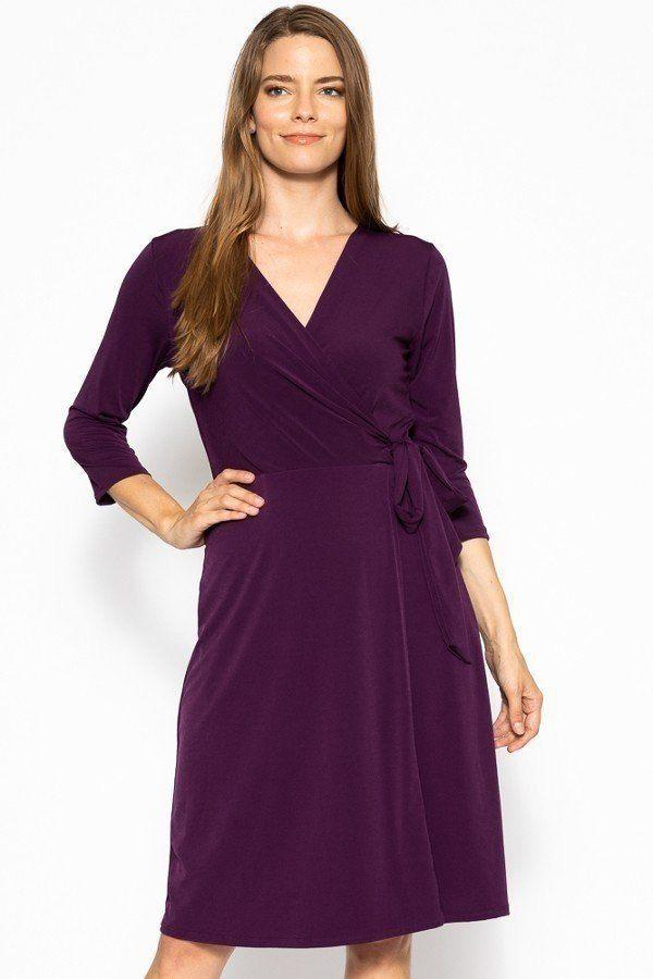 Cute Midi 3/4 Sleeve Dress With A Overlapping V-neck Line And A Belted Waist - StyleLure