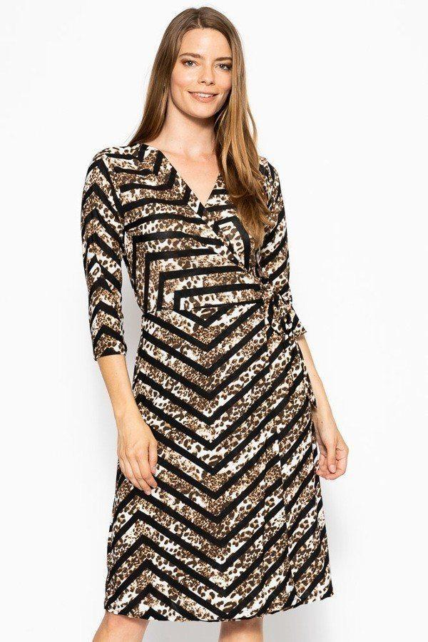 Print Midi, A-line Dress - StyleLure