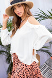 Cold Shoulder V Neck Adjustable Strap 3/4 Bubble Sleeve Top