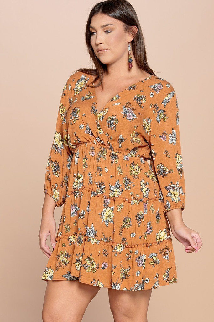 Floral Printed Tiered Wrapped Dress - StyleLure