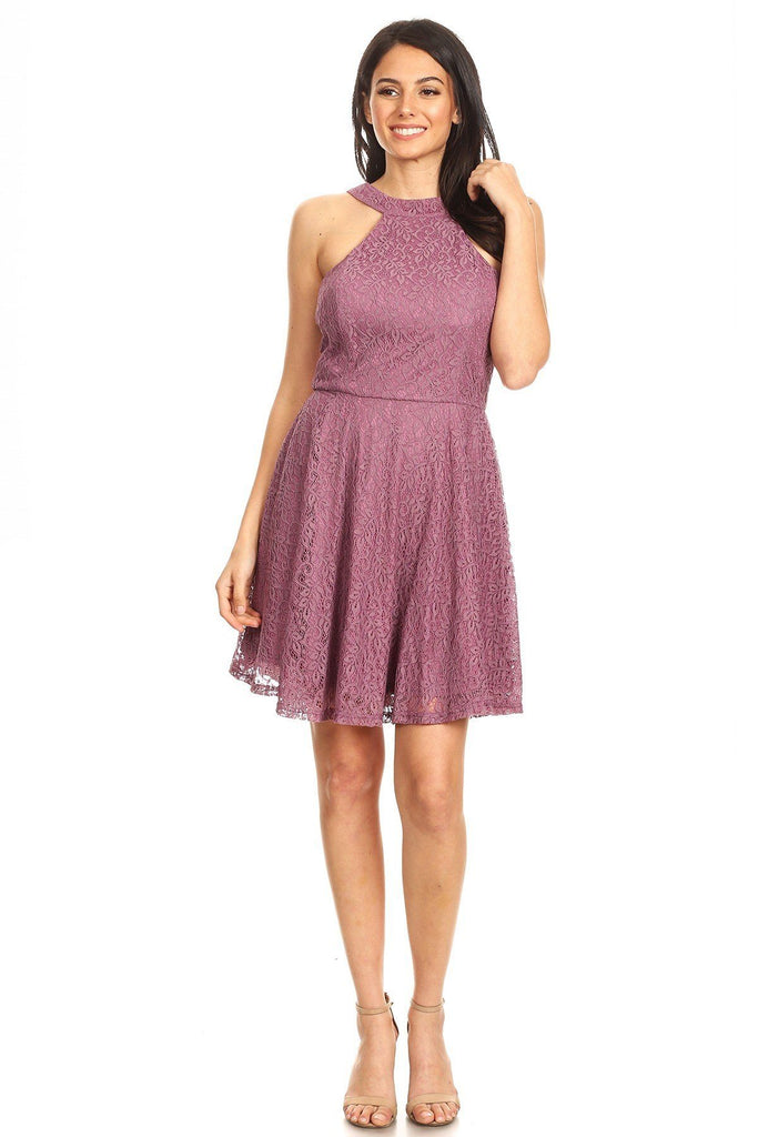 Lace Sleeveless Dress With Halter Neckline And Back Zipper Closure - StyleLure