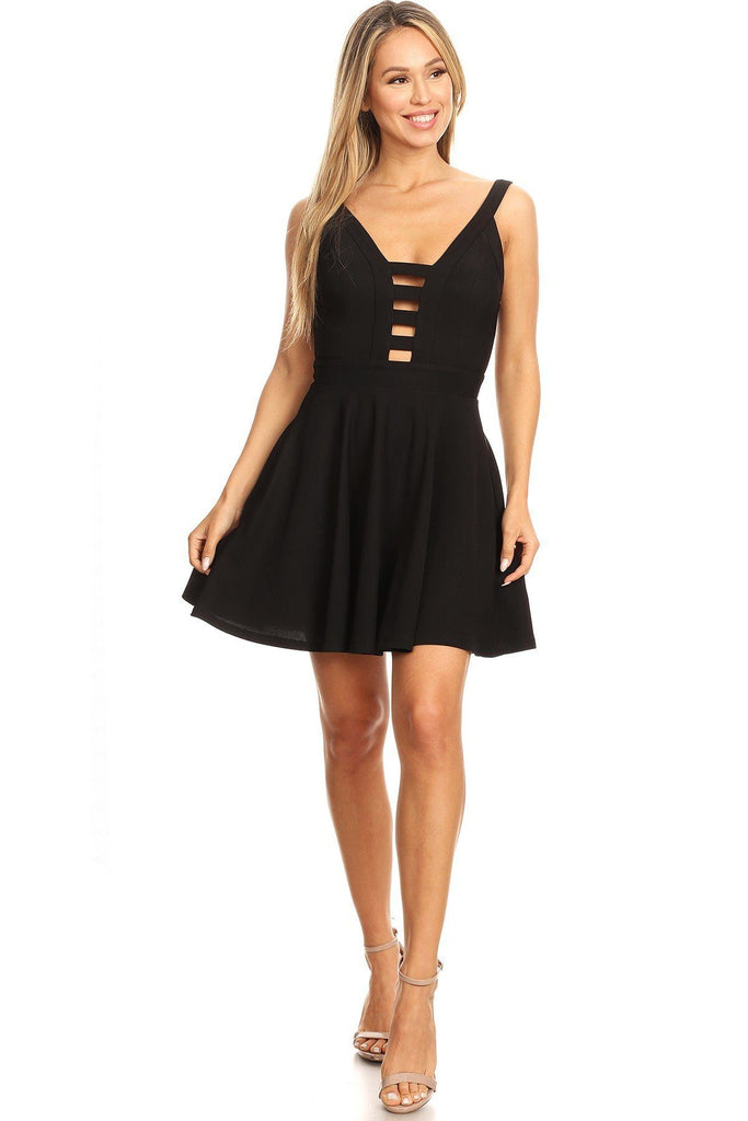 Solid Fit And Flare Dress With Back Zipper Closure, Cutouts, And Spaghetti Straps - StyleLure