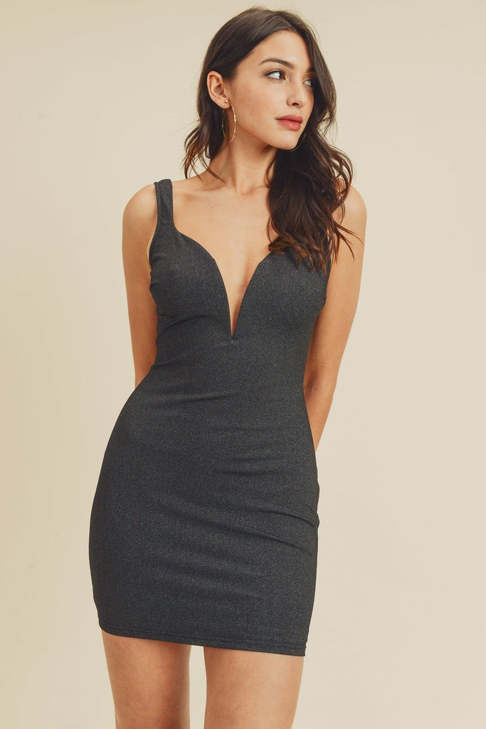 Open Back Plunging V-neck Bodycon Dress - StyleLure
