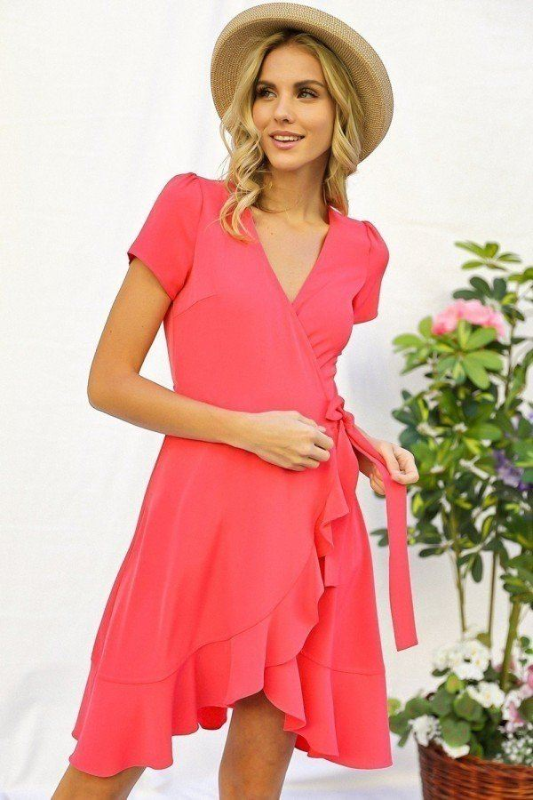 Solid Basic Ruffle Detailed Tulip Overlay Short Sleeve Surplice Dress With Ribbon Tie Waist Detail - StyleLure