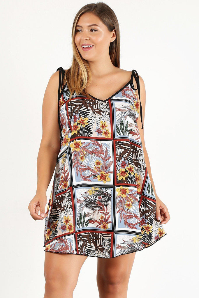 Plus Size Printed Shift Dress With A V-neck And Floral Detail - StyleLure