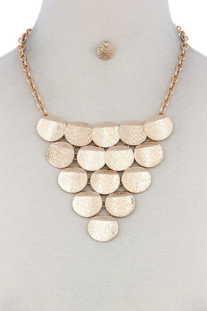 Disc Linked Bib Necklace - StyleLure