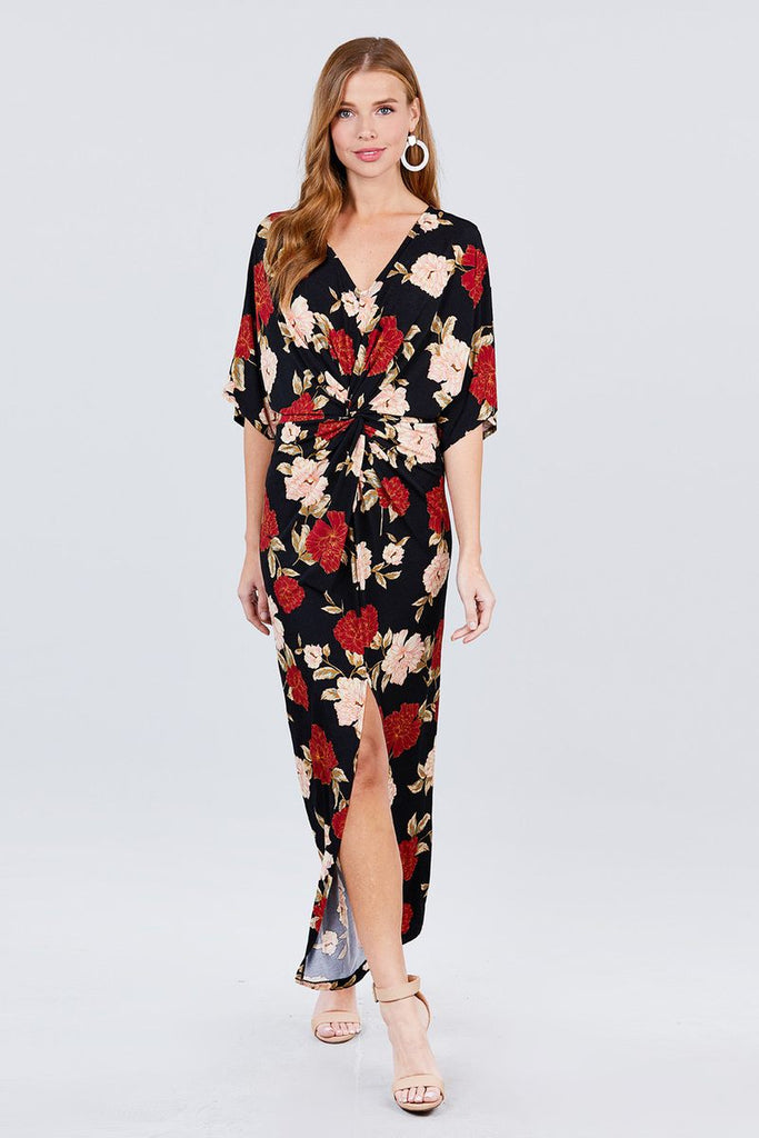 Short Dolman Sleeve V-neck Front Knot And Slit Print Knit Long Dress - StyleLure
