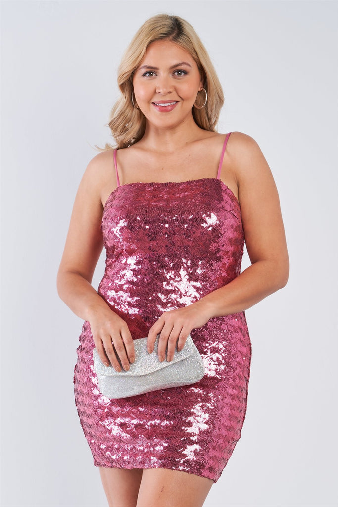 Plus Size Pink Sequin Cami Bodycon Mini Dress - StyleLure