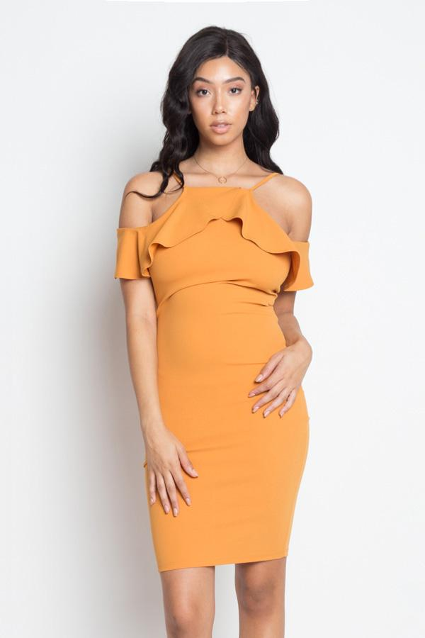 Ruffle Open Shoulder Halter Dress - StyleLure