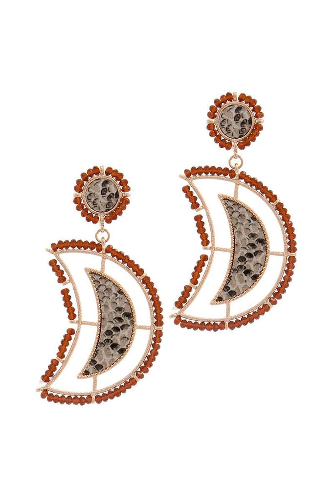 Beaded Snake Pattern Post Drop Earring - StyleLure