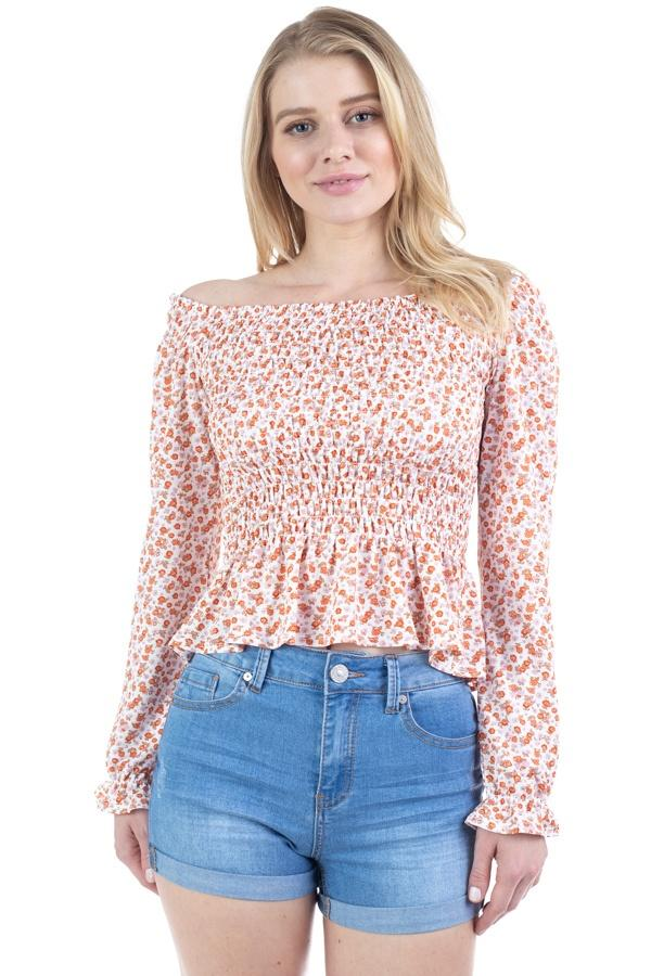 Floral Smocked Off Shoulder Top - StyleLure