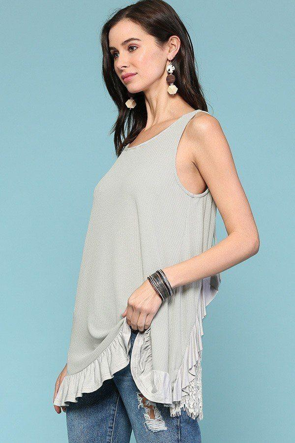 Sleeveless Back Lace Ruffle Detail Tank Top - StyleLure