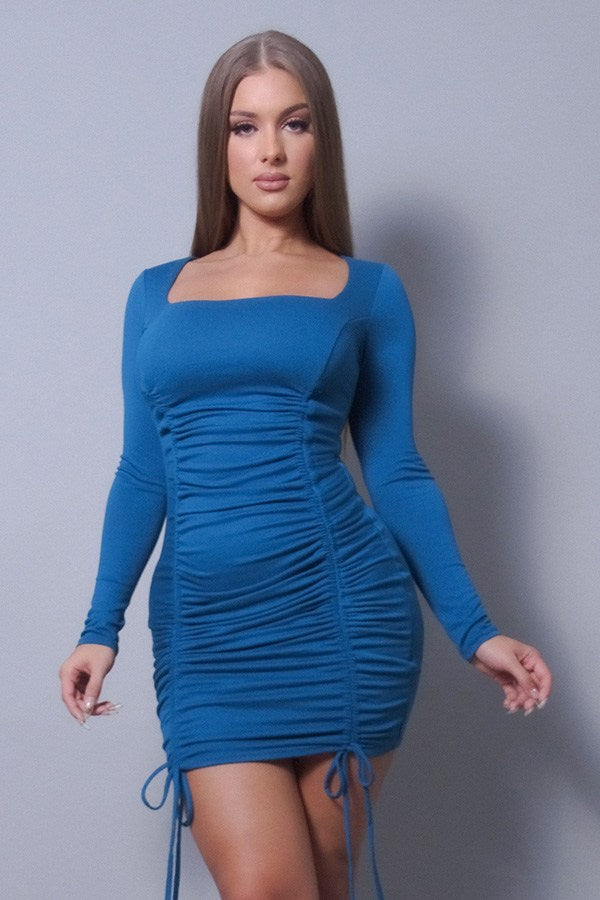 Sexy & Chic Long Sleeve Square Neck Ruching Tie Basic Dress - StyleLure