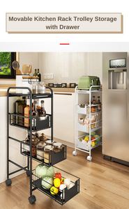 Movable Kitchen Rack Trolley Storage with Drawer