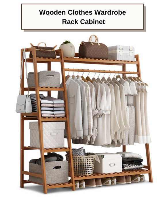 Wooden Clothes Wardrobe Rack Cabinet