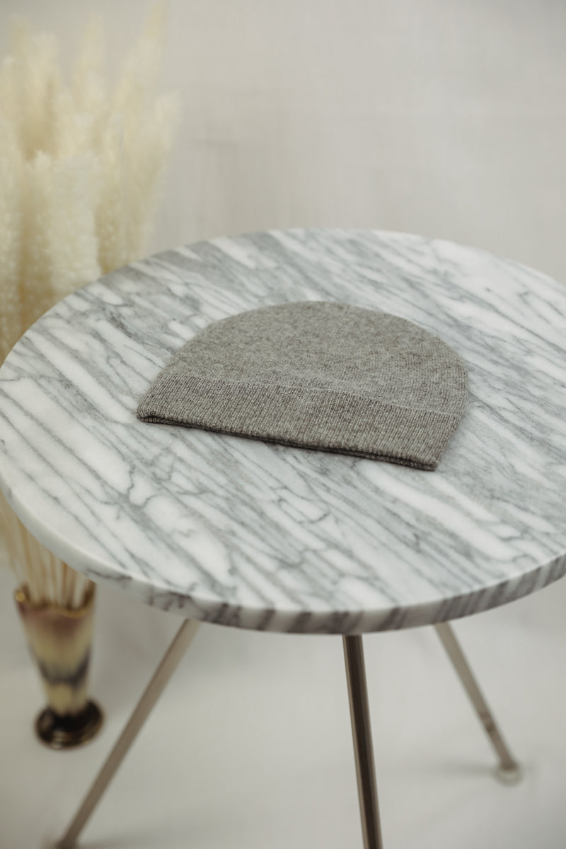 Cashmere Baby Beanie - Heather Grey
