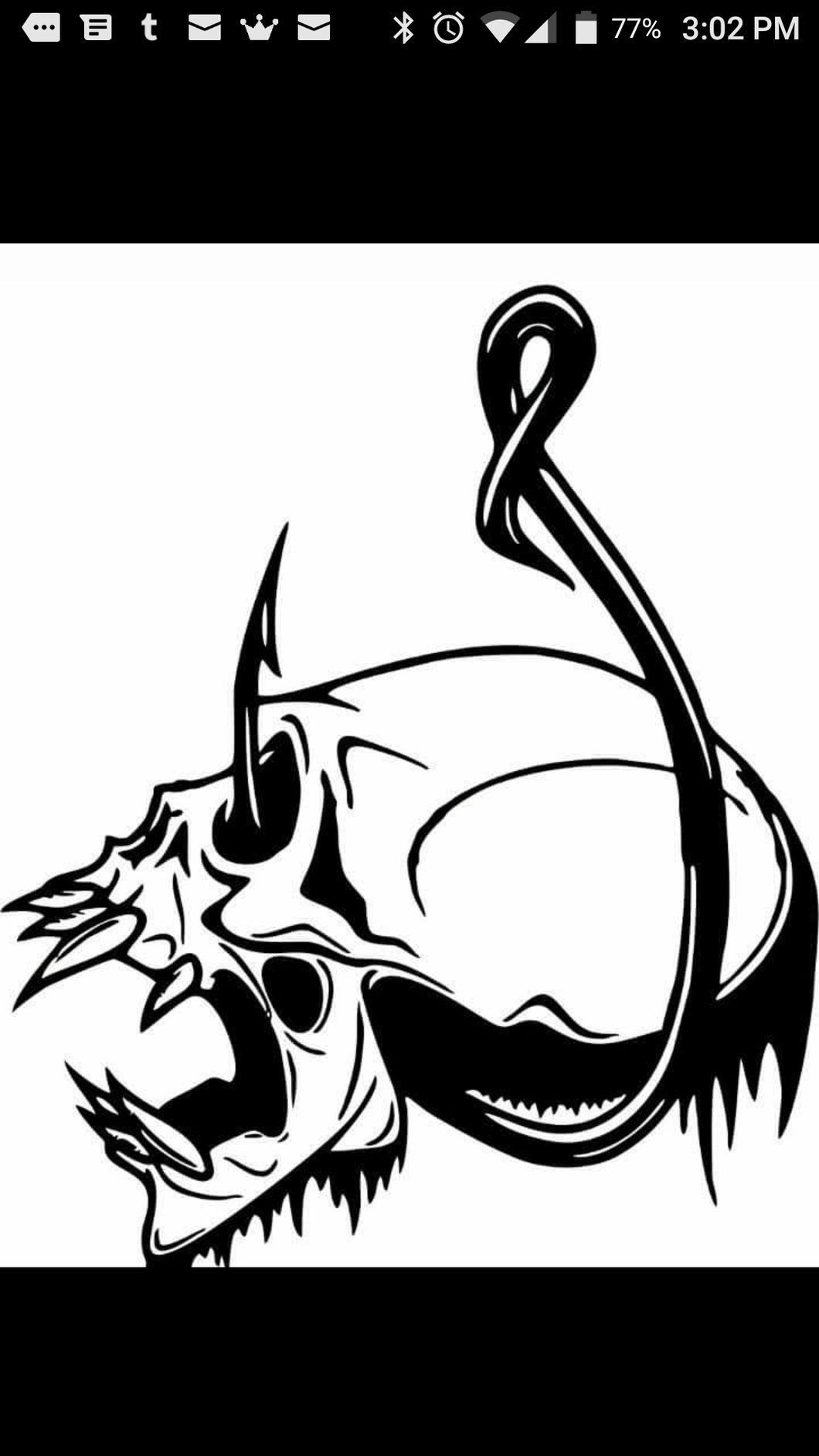 Skull and fishhook window decal 6