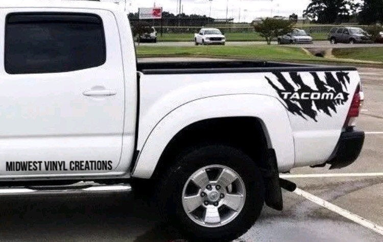 All year Toyota Tacoma torn truck bed decal set trd