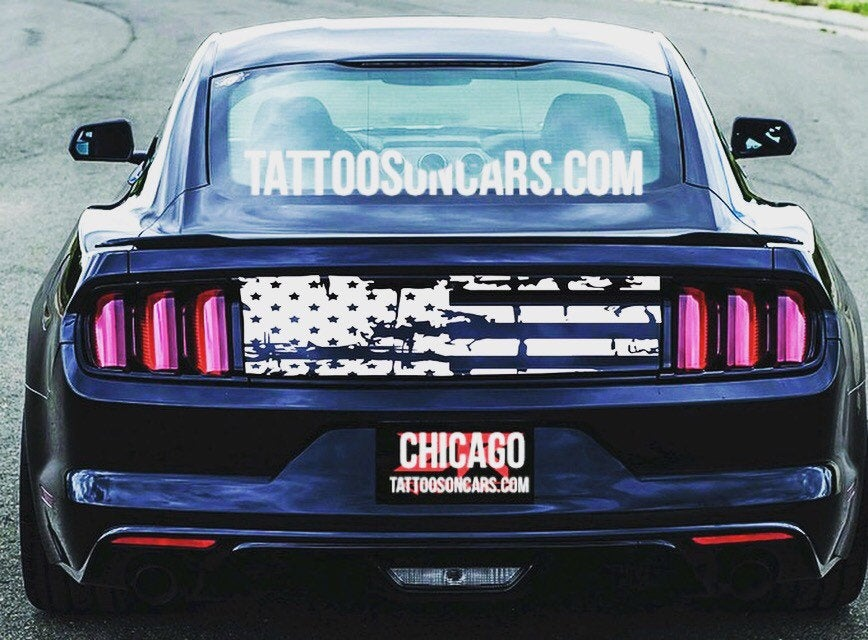 2005-2019 Ford Mustang rear center distressed American flag decal