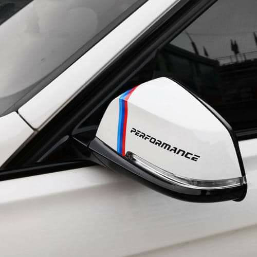Bmw performance and stripes mirrors decal kit for all year all models