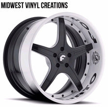 Load image into Gallery viewer, Rim wheel lip decal set forgiato or any wheel set any custom name 8 pcs