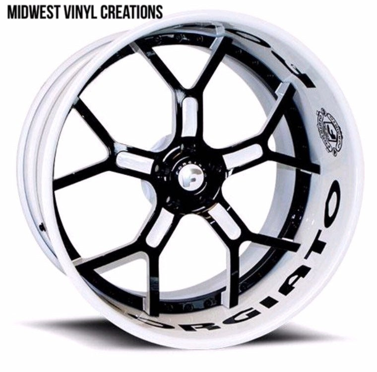 Rim wheel lip decal set forgiato or any wheel set any custom name 8 pcs