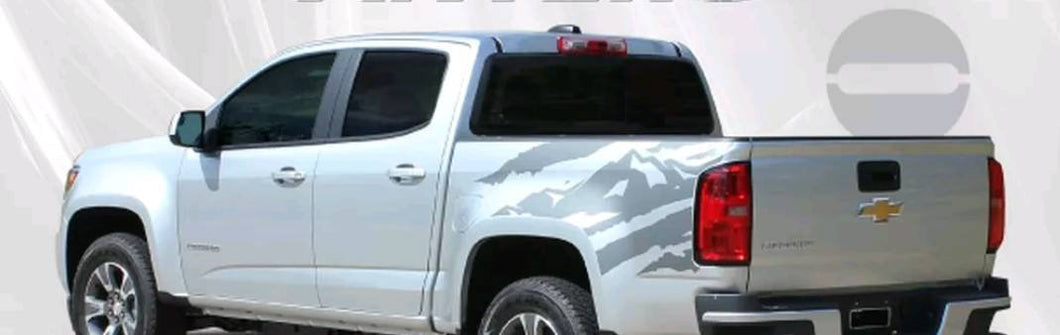 2015-up chevy colorado rear truck bed splat decal set kit many colors available