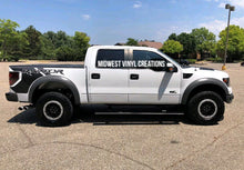 Load image into Gallery viewer, Ford F-150 Raptor truck bed quarter decal set solid blk matte with gloss blk 2 color combo.