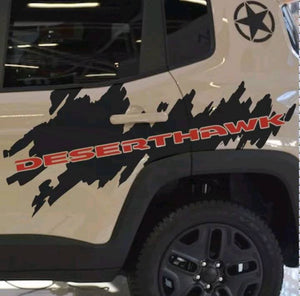 2015-2019 Jeep renegade desert hawk rear 2 color side logo decal set. Many color combos.