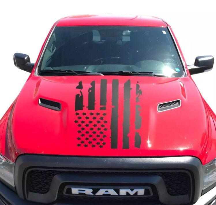Dodge Ram American flag distressed hood decal for all models and years.