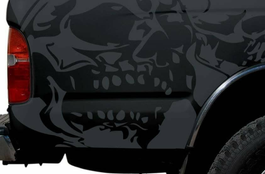 1992-up toyota tacoma truck bed corners evil skull decal set kit.