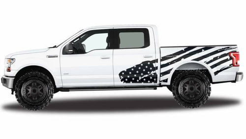 Ford truck side bed flag decal set kit. Available All yrs and models