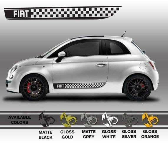 Fiat 500 checkored stripe lower decal set.available in many colors.