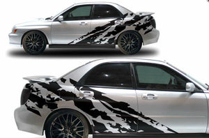 Subaru wrx sti shreaded side bode decal design kits available. In many colors