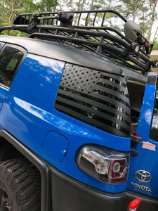 Toyota FJ Cruiser rear side window flag decal set (pair lft + rt) many colors available.