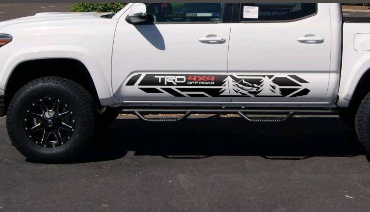 Toyota tacoma wilderness edition trk rocker decal kit 2 color combo kit many colors available.