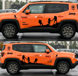 Jeep renegade side body hill climbing hiking edition decal set kit.many colors available